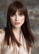 Anime Costumes AF-S2-651781 Brown Hair Wigs Long Straight Women's Blunt Fringe Synthetic Wigs