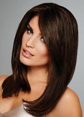 Long Straight Wig Layered Inner Buckle peruca de cabelo preto castanho para mulheres