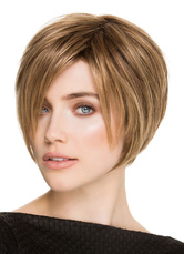 Anime Costumes AF-S2-653063 Flaxen Bob Wigs Short Straight Women's Side Parting Layered Synthetic Hair Wigs