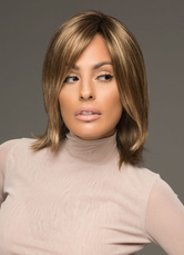 AF-S2-653069 Flaxen Short Wigs Straight Women's Side Parting Synthetic Hair Wigs With Outward Ends