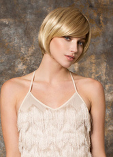 Anime Costumes AF-S2-653057 Gold Bob Wigs Short Straight Women's Side Swept Bangs Synthetic Hair Wigs