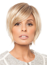 AF-S2-653055 Short Gold Wigs Bob Straight Women's Side Swept Bangs Synthetic Hair Wigs