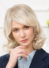 AF-S2-650567 Human Hair Wigs Light Apricot Side Swept Bangs Curly Short Hair Wings