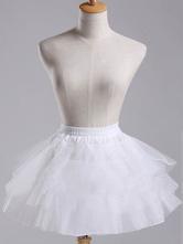 Lolitashow Sweet Lolita jupon blanc court Organza Tiered Skirt Tu Tu