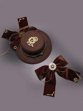 Lolitashow Steampunk Lolita Hat Burgundy Gears Bow Deco Vintage Oji Lolita Headpieces