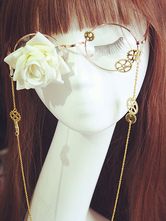 Lolitashow Gothic Lolita Glasses Steampunk Vintage Red Rose Flower Gear Chains Retro Lolita Costume Accessories