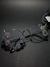 Lolitashow Vintage Lolita Glasses Steampunk Gear Wing Silver Retro Lolita Costume Accessories