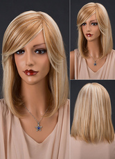 Anime Costumes AF-S2-652163 Straight Human Hair Wigs Side Swept Bangs Layered Women's Wigs In Light Tan