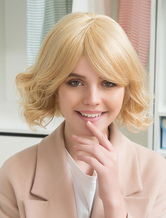 Anime Costumes AF-S2-652165 Blonde Human Hair Wigs Curly Short Hair Wigs Capless Layered Women's Wigs With Side Swept Bangs