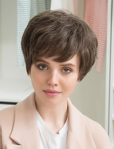 Anime Costumes AF-S2-652167 Human Hair Short Wigs Pixie Cut Capless Hair Wigs Layered Side Swept Bangs Women's Wigs