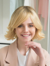 AF-S2-652169 Blond Human Hair Wigs Side Swept Bangs Natural Wave Curly Hair Wigs For Women