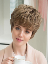 Anime Costumes AF-S2-652171 Short Human Hair Wigs Layered Curly Hair Wigs Capless Pixie Cut Women's Wigs With Side Swept Bangs