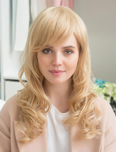 Anime Costumes AF-S2-652185 Blonde Human Hair Wigs Long Curly Women's Wigs With Side Swept Bangs