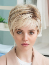 AF-S2-652203 Women's Short Straight Human Hair Wigs In Apricot