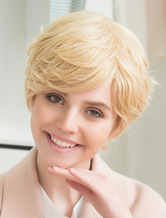 AF-S2-652181 Light Gold Human Hair Wigs Short Pixie Cut Wigs Layered Curly At Ends Side Swept Bangs Women's Wigs