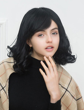 Anime Costumes AF-S2-652159 Human Hair Black Wigs Shoulder Length Curly Hair Wigs Layered Capless Women's Wigs With Side Swept Bangs