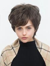 Anime Costumes AF-S2-652153 Short Human Hair Wigs Boycut Layered Wigs Side Swept Bangs Capless Tan Women's Hair Wigs