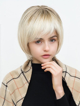 Anime Costumes AF-S2-652149 Human Hair Women's Wigs Bob Cut Short Wigs Layered Capless Hair Wigs With Side Swept Bangs