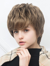 AF-S2-652113 Human Hair Short Wigs Layered Curly Side Swept Bangs Capless Wigs For Women