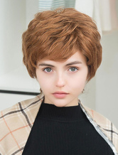 Anime Costumes AF-S2-652111 Women's Hair Wigs Short Human Hair Wigs With Side Swept Bangs