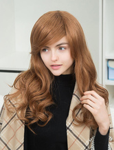 Anime Costumes AF-S2-652103 Curly Human Hair Wigs Long Side Parting Layered Natural Wave Women's Hair Wigs