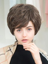 Anime Costumes AF-S2-652097 Short Human Hair Wigs Layered Side Swept Bangs Women's Wigs In Tan