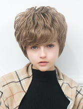 Anime Costumes AF-S2-652089 Curly Human Hair Wigs Short Natural Wave Women's Hair Wigs With Side Bangs