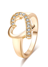 Gold Engagement Ring Crystal Heart Pattern Cut Out Round Rings