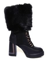 Stivali di pelliccia nera grosso tallone metà polpaccio stivali con lacci punta tonda stivali invernali per le donne
