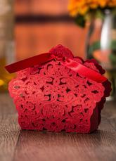 Wedding Favor Boxes White Ribbon Hollow Out Small Gift Box (12pcs A Set )