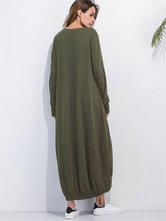 2cfb5b6b8221 ... Maxi abito luce grigia giro collo manica lunga donna pieghe abito lungo  in cotone-No ...