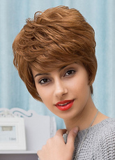 Anime Costumes AF-S2-653627 Women's Human Hair Wigs Short Layered Tan Boycut Hair Wigs
