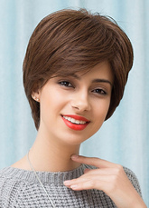 Anime Costumes AF-S2-653629 Short Human Hair Wigs Straight Side Swept Bangs Women's Hair Wigs In Tan