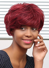 Anime Costumes AF-S2-653635 Dark Red Short Straight Human Hair Wigs For African American Women