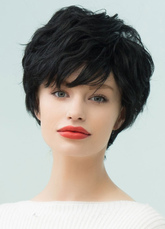 AF-S2-653617 Black Human Hair Wigs Short Curly Tousled Capless Women's Wigs