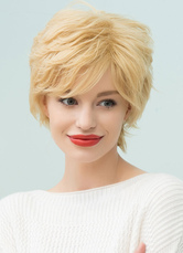 Anime Costumes AF-S2-653619 Light Gold Human Hair Wigs Short Natural Wave Capless Hair Wigs For Women