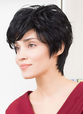 Anime Costumes AF-S2-653625 Black Short Human Hair Wigs Tousled Capless Women's Hair Wigs With Bang