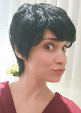 Anime Costumes AF-S2-653623 Black Hair Wigs Short Tousled Side Swept Bangs Human Hair Wigs For Women