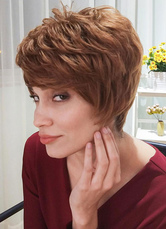 AF-S2-653621 Brown Human Hair Wigs Short Tousled Capless Women's Hair Wigs