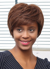 Anime Costumes AF-S2-653639 Tan Human Hair Short Wig Layered Straight Side Swept Bangs Hair Wig For African American Women