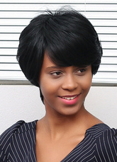 Anime Costumes AF-S2-653637 Black Short African American Wigs Side Swept Straight Layered Human Hair Wigs