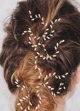e6e60928c05c Playa boda tocados Boho perlas nupcial pelo joyería rama estilo marfil  horquillas en 3 piezas