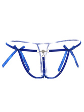 Women's Blue Underwear Bow Thong Panties