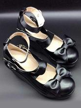 Lolitashow Bow PU & Leather Lolita Wedge Shoes