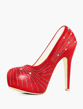 Rote Plateau High Heels Party High Heels mit Strass