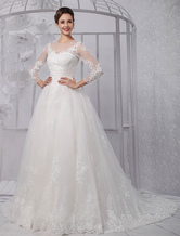 Long Sleeves Illusion Neck-line Lace Bridal Wedding Gown With Tulle Overskirt(Veil isn't included) Milanoo