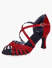 Zapatillas de baile de salsa 2020 Zapatos de baile latino de punta abierta Criss Cross Zapatos de salón de baile glitter
