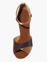 Baile de salón zapatos de puntera abierta negro brillo 0896Zc4pw