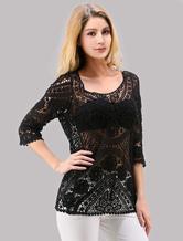 Black Women's Crochet Top In Cotton Blend With Half Sleeves
