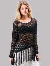 Bohemian Black Crochet Women's Top With Tassle Bottom